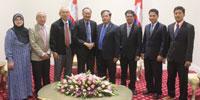 H.E Datuk Oknha Othsman Hassan warmly greeting a courtesy calls by Tun Zaki Bin Tun Azmi former Malaysian President of the Supreme Court at the Peace Palace